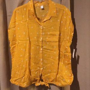 Button down, tie front blouse